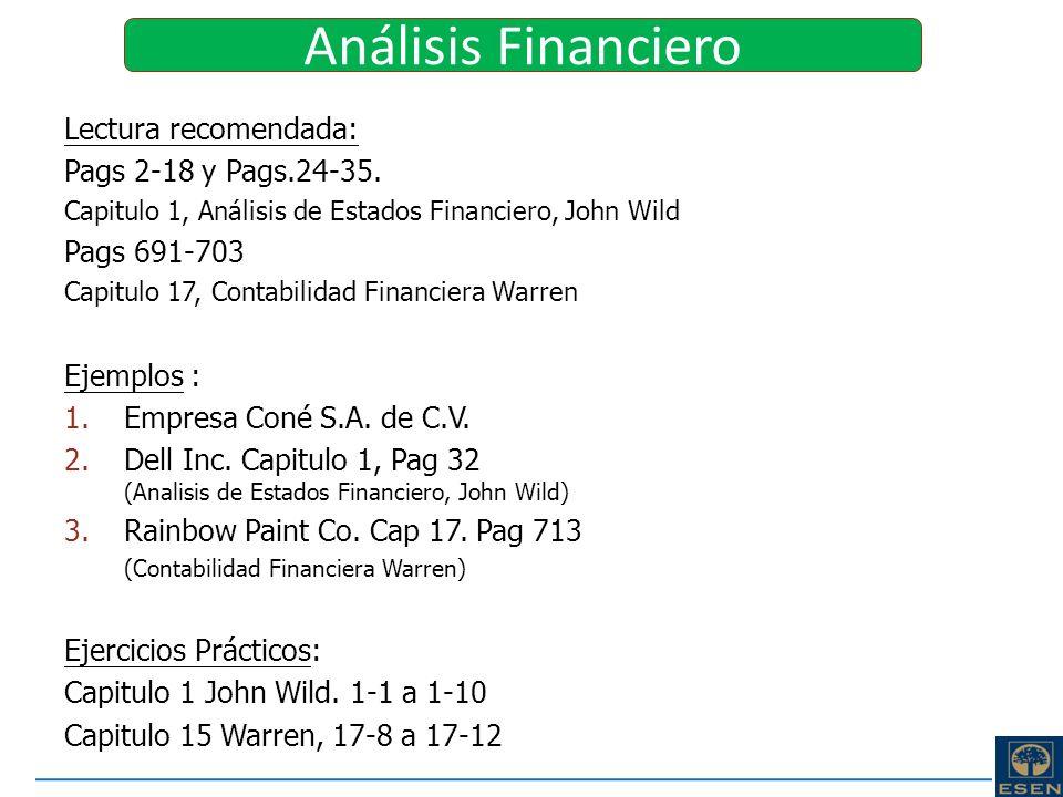 Análisis Financiero Lectura recomendada: Pags 2-18 y Pags.24-35.