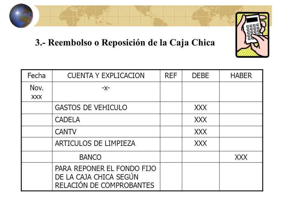 3.- Reembolso o Reposición de la Caja Chica