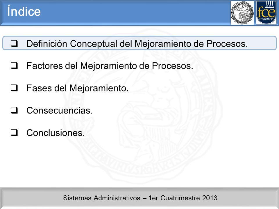 Índice Definición Conceptual del Mejoramiento de Procesos.