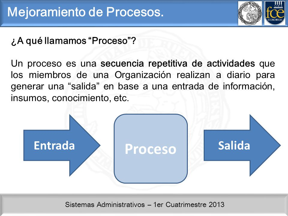 Proceso Mejoramiento de Procesos. Entrada Salida