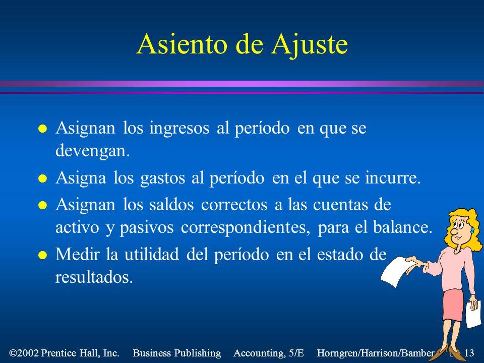 Asiento de Ajuste Asignan los ingresos al período en que se devengan.