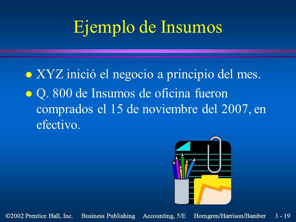 Ejemplo de Insumos XYZ inició el negocio a principio del mes.