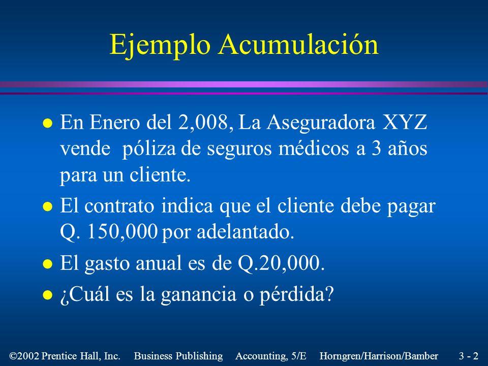 Ejemplo AcumulaciónEn Enero del 2,008, La Aseguradora XYZ vende póliza de seguros médicos a 3 años para un cliente.