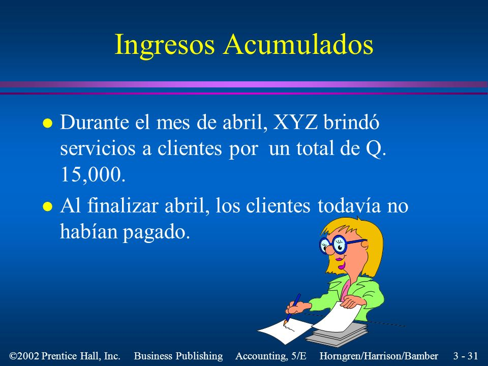 Ingresos AcumuladosDurante el mes de abril, XYZ brindó servicios a clientes por un total de Q. 15,000.