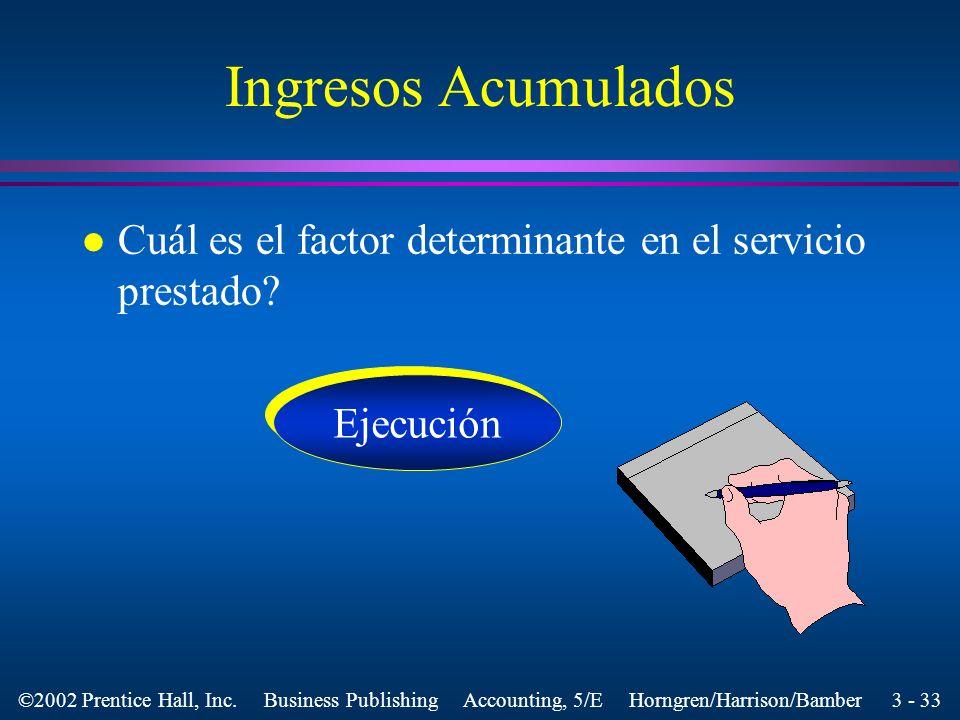 Ingresos Acumulados Cuál es el factor determinante en el servicio prestado Ejecución