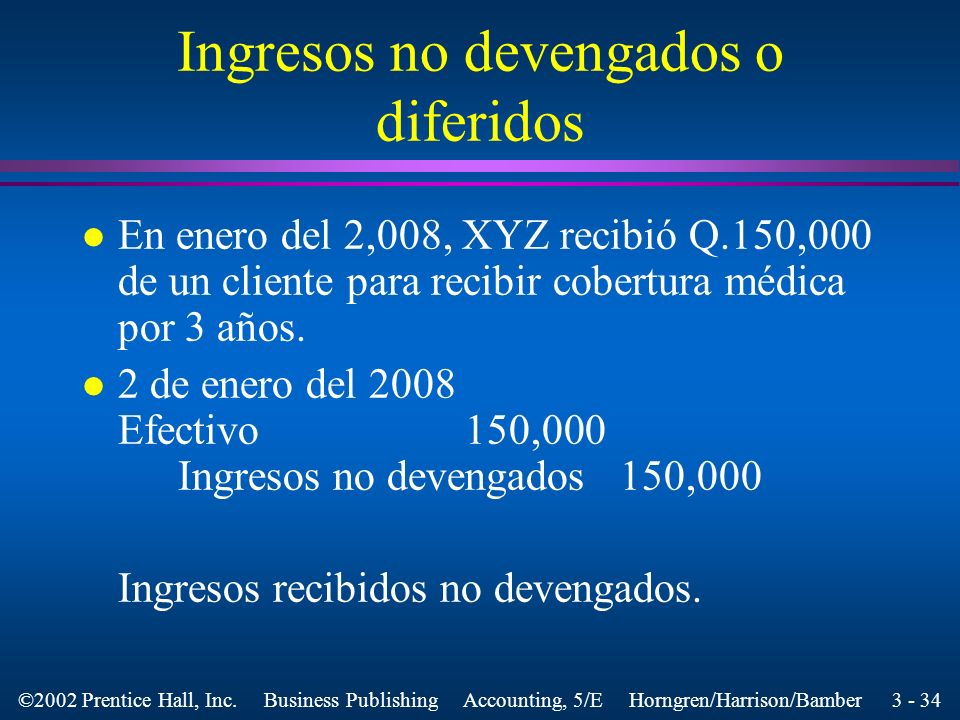 Ingresos no devengados o diferidos