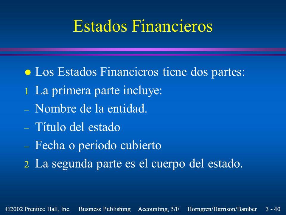 Estados Financieros Los Estados Financieros tiene dos partes: