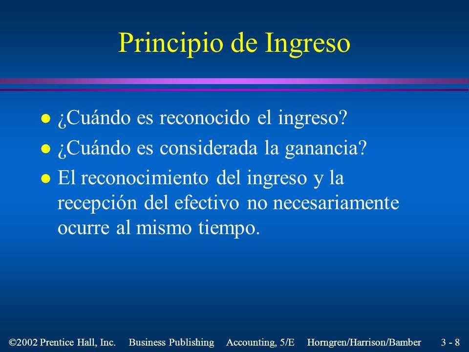 Principio de Ingreso ¿Cuándo es reconocido el ingreso