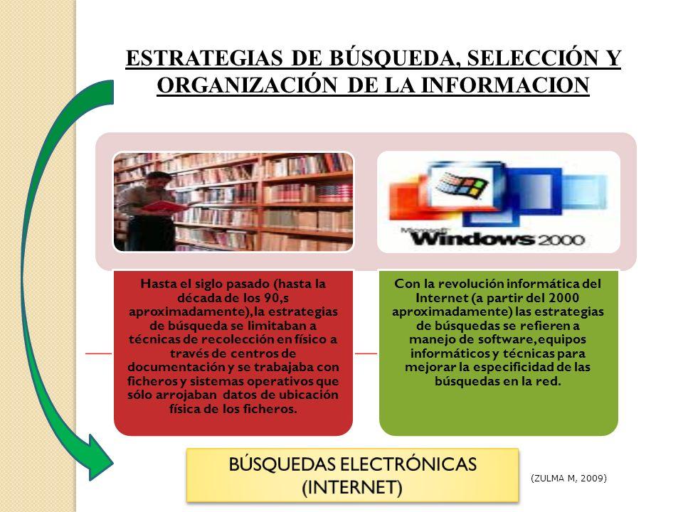 ESTRATEGIAS DE BÚSQUEDA, SELECCIÓN Y ORGANIZACIÓN DE LA INFORMACION