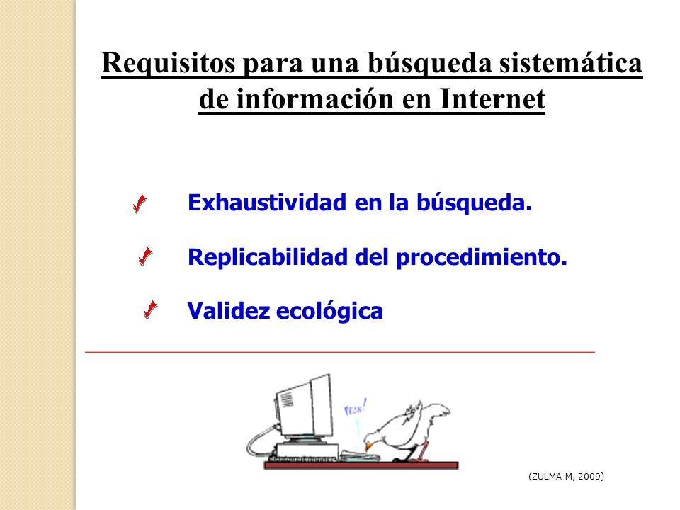 Requisitos para una búsqueda sistemática de información en Internet