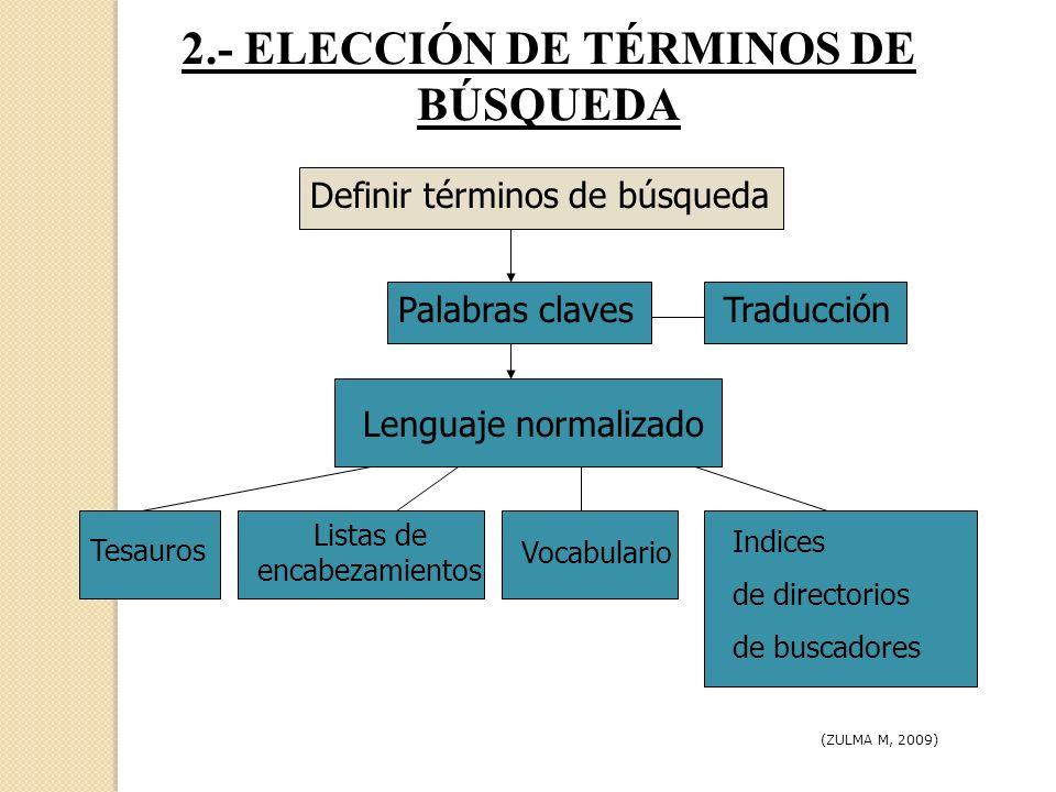 2.- ELECCIÓN DE TÉRMINOS DE BÚSQUEDA