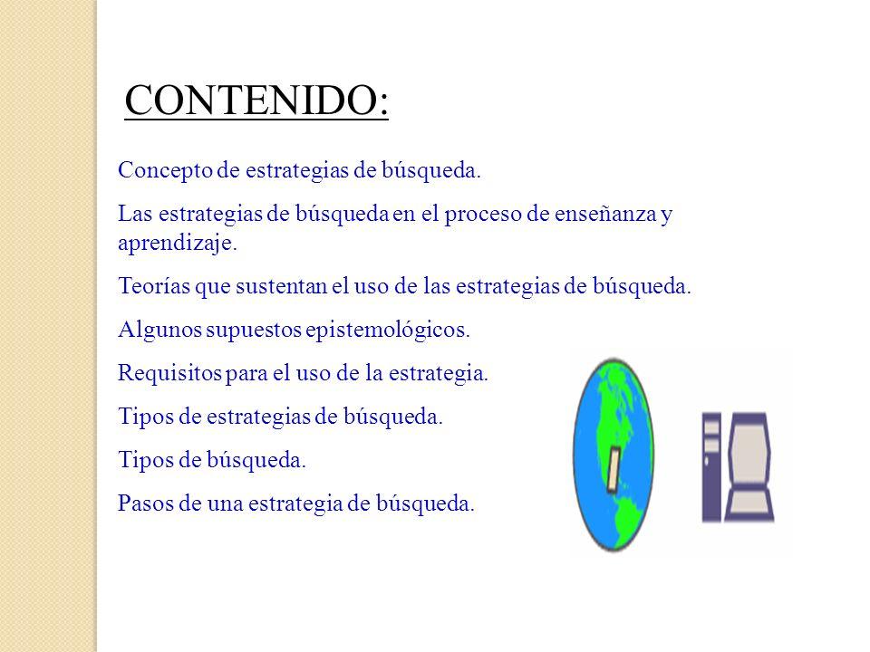 CONTENIDO: Concepto de estrategias de búsqueda.