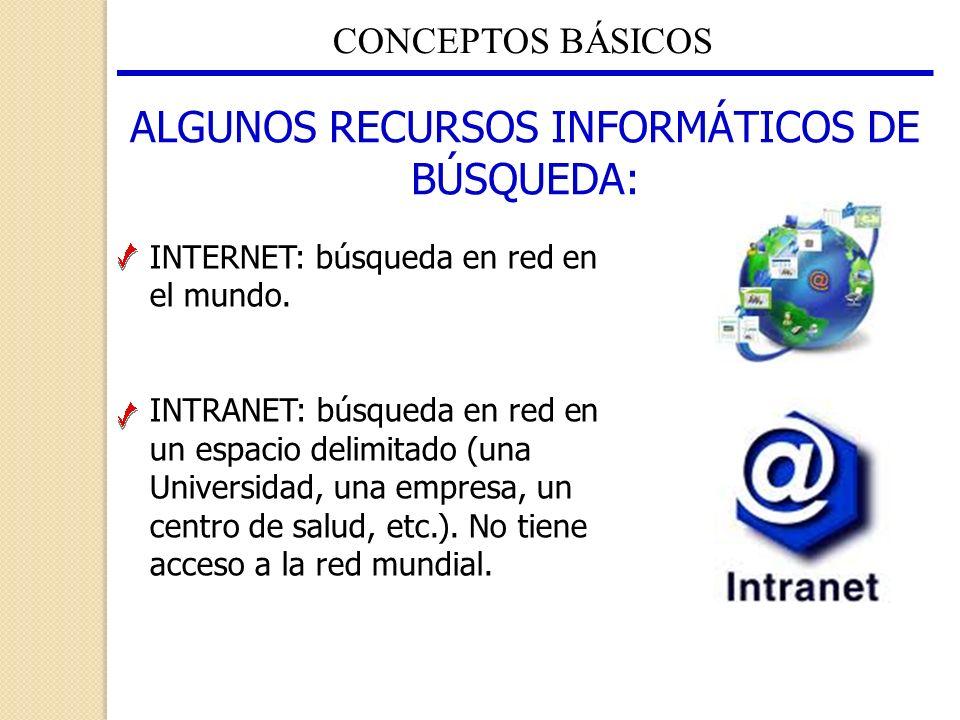 ALGUNOS RECURSOS INFORMÁTICOS DE BÚSQUEDA: