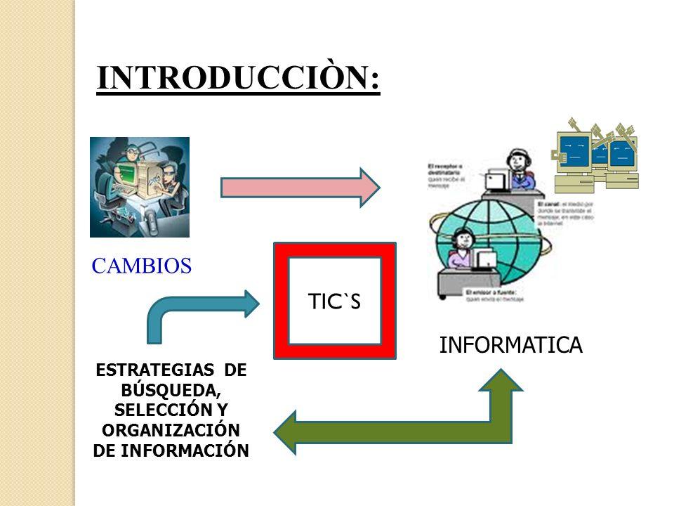 ESTRATEGIAS DE BÚSQUEDA, SELECCIÓN Y ORGANIZACIÓN DE INFORMACIÓN