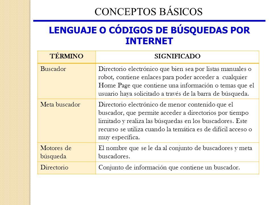 LENGUAJE O CÓDIGOS DE BÚSQUEDAS POR INTERNET