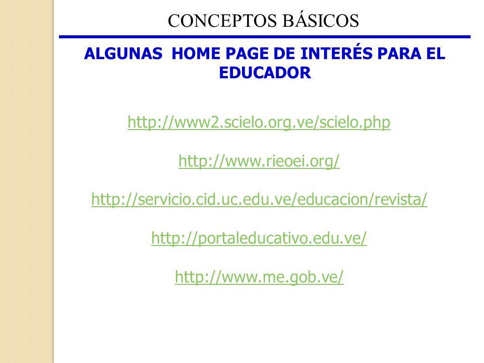 ALGUNAS HOME PAGE DE INTERÉS PARA EL EDUCADOR