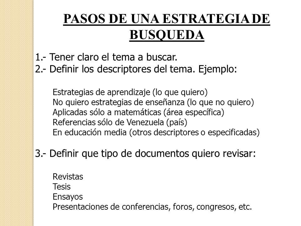 PASOS DE UNA ESTRATEGIA DE BUSQUEDA