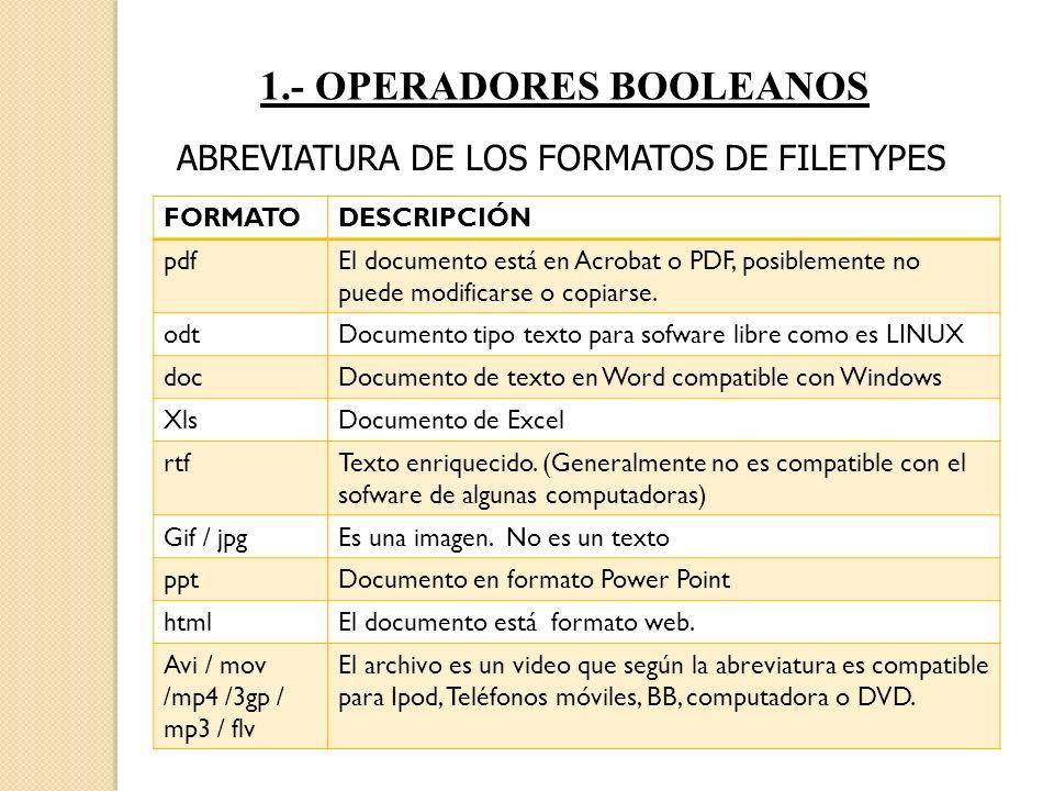 1.- OPERADORES BOOLEANOS