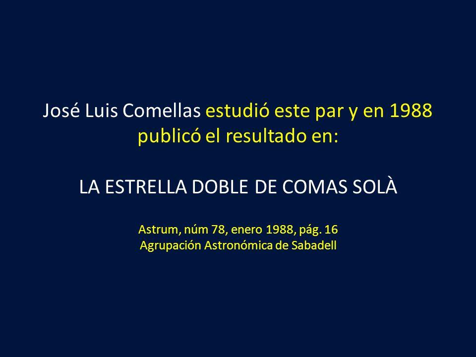 José Luis Comellas estudió este par y en 1988 publicó el resultado en: LA ESTRELLA DOBLE DE COMAS SOLÀ Astrum, núm 78, enero 1988, pág.