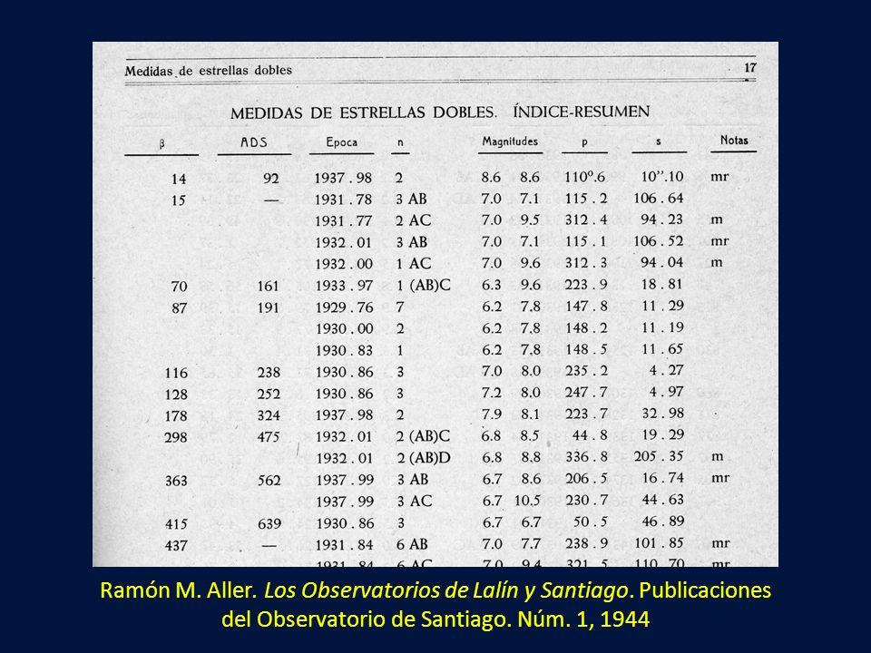 Ramón M. Aller. Los Observatorios de Lalín y Santiago