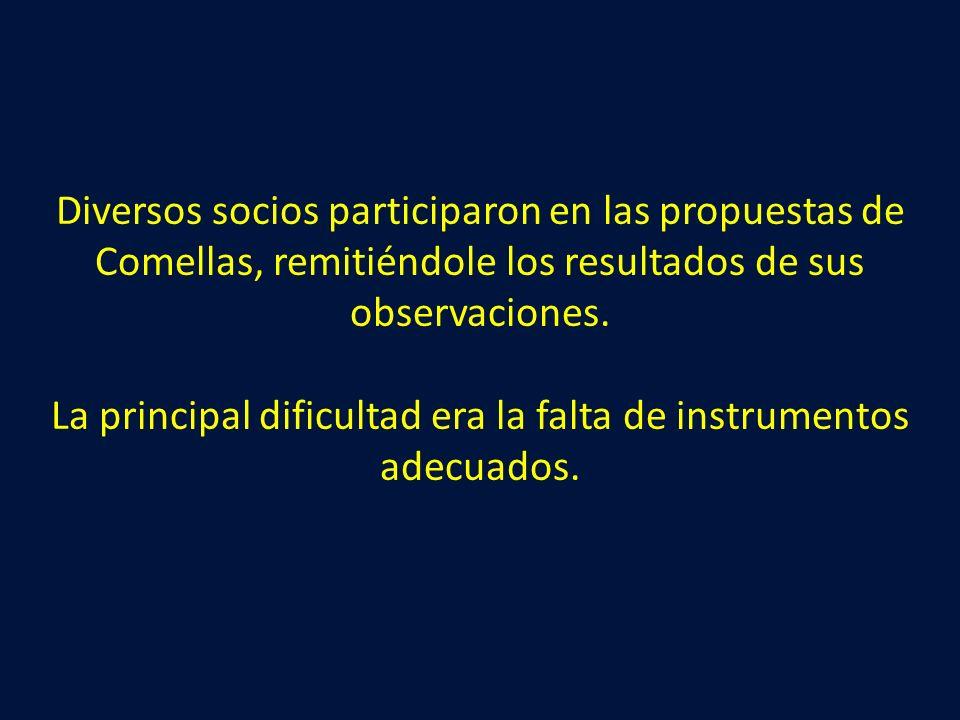 Diversos socios participaron en las propuestas de Comellas, remitiéndole los resultados de sus observaciones.