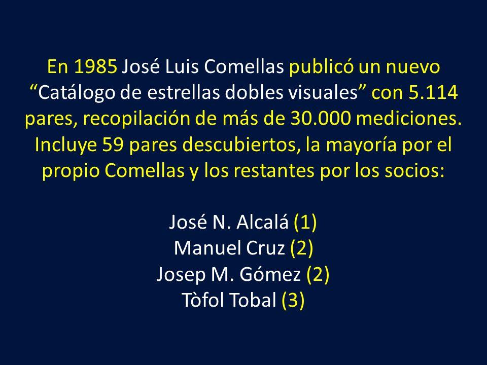 En 1985 José Luis Comellas publicó un nuevo Catálogo de estrellas dobles visuales con 5.114 pares, recopilación de más de 30.000 mediciones.
