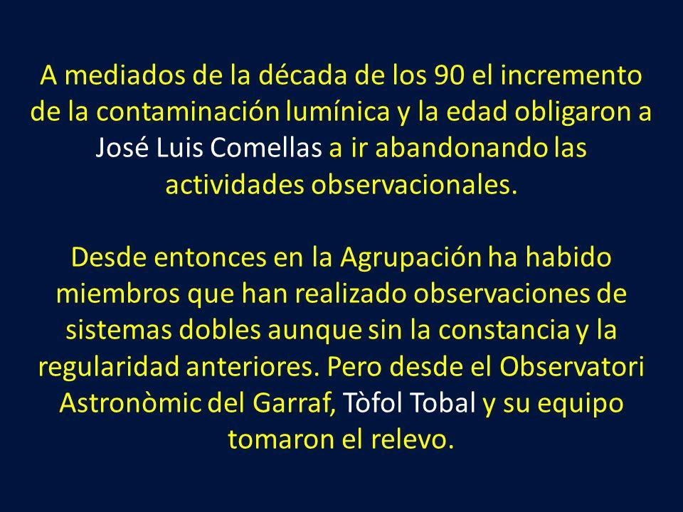 A mediados de la década de los 90 el incremento de la contaminación lumínica y la edad obligaron a José Luis Comellas a ir abandonando las actividades observacionales.