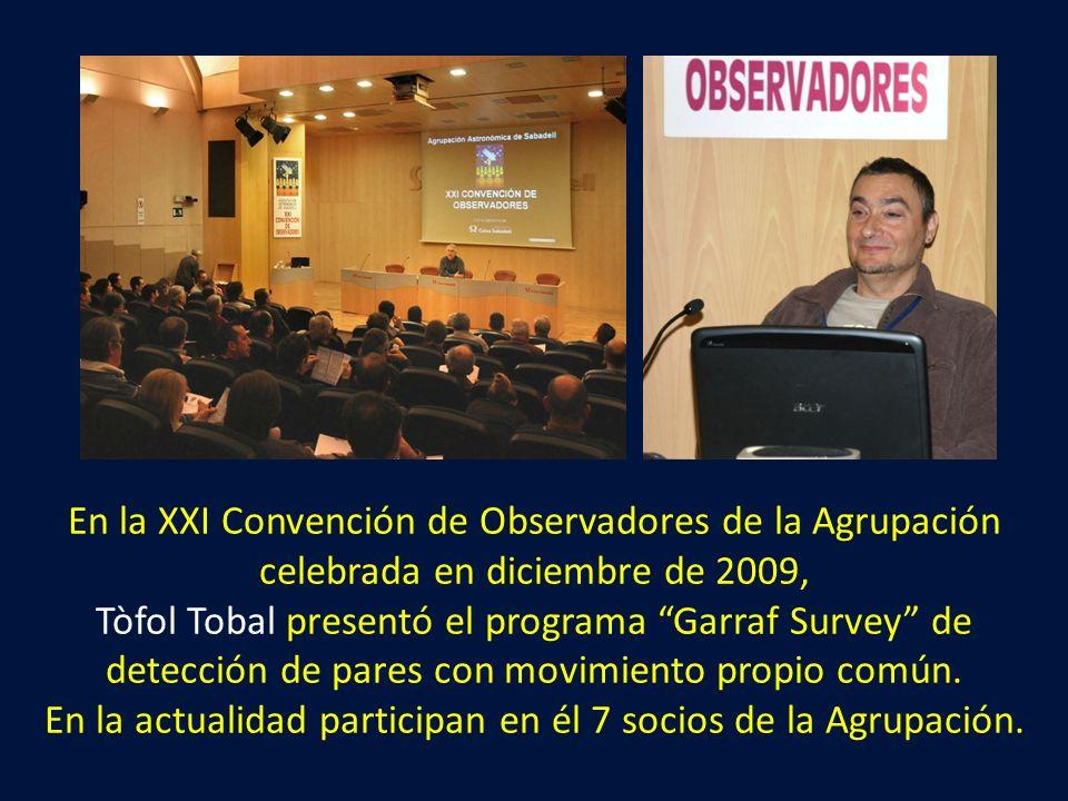 En la XXI Convención de Observadores de la Agrupación celebrada en diciembre de 2009, Tòfol Tobal presentó el programa Garraf Survey de detección de pares con movimiento propio común.