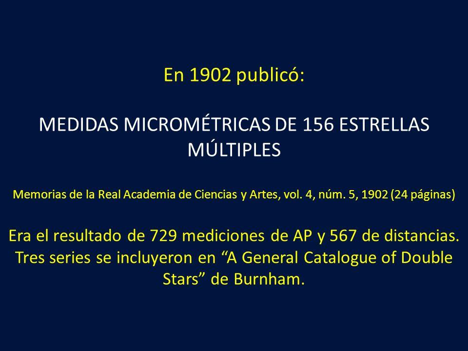 En 1902 publicó: MEDIDAS MICROMÉTRICAS DE 156 ESTRELLAS MÚLTIPLES Memorias de la Real Academia de Ciencias y Artes, vol.