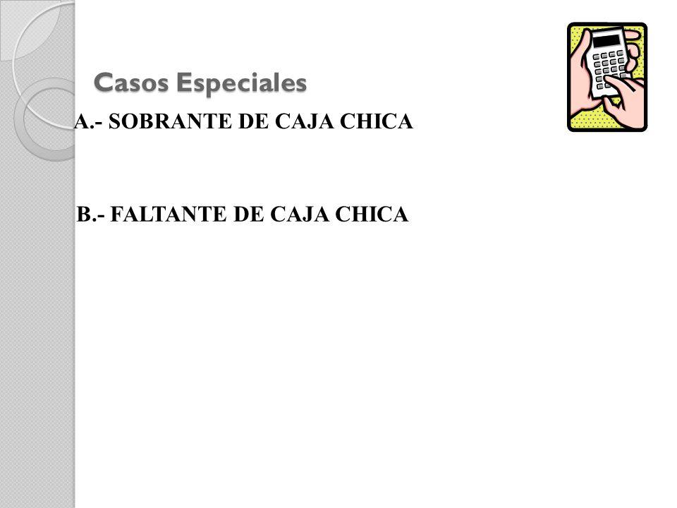 Casos Especiales A.- SOBRANTE DE CAJA CHICA B.- FALTANTE DE CAJA CHICA