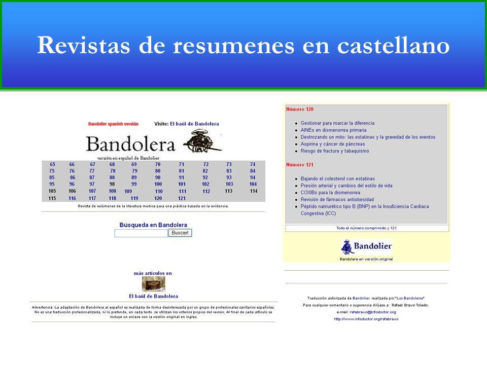 Revistas de resumenes en castellano