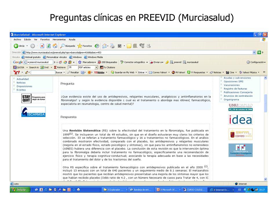 Preguntas clínicas en PREEVID (Murciasalud)
