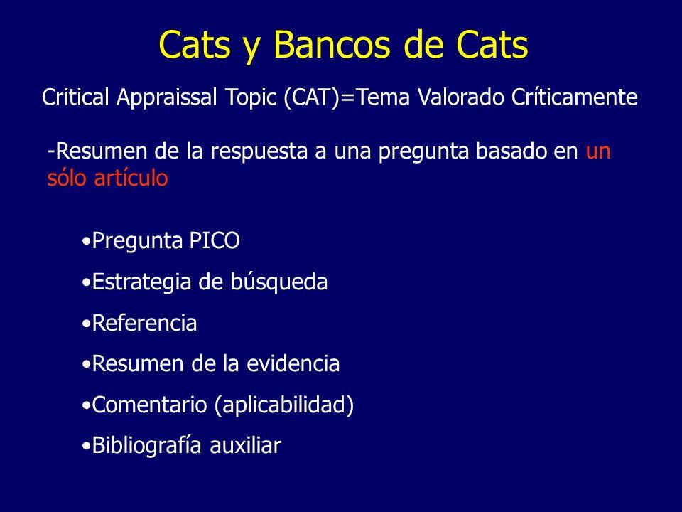 Cats y Bancos de Cats Critical Appraissal Topic (CAT)=Tema Valorado Críticamente. -Resumen de la respuesta a una pregunta basado en un.