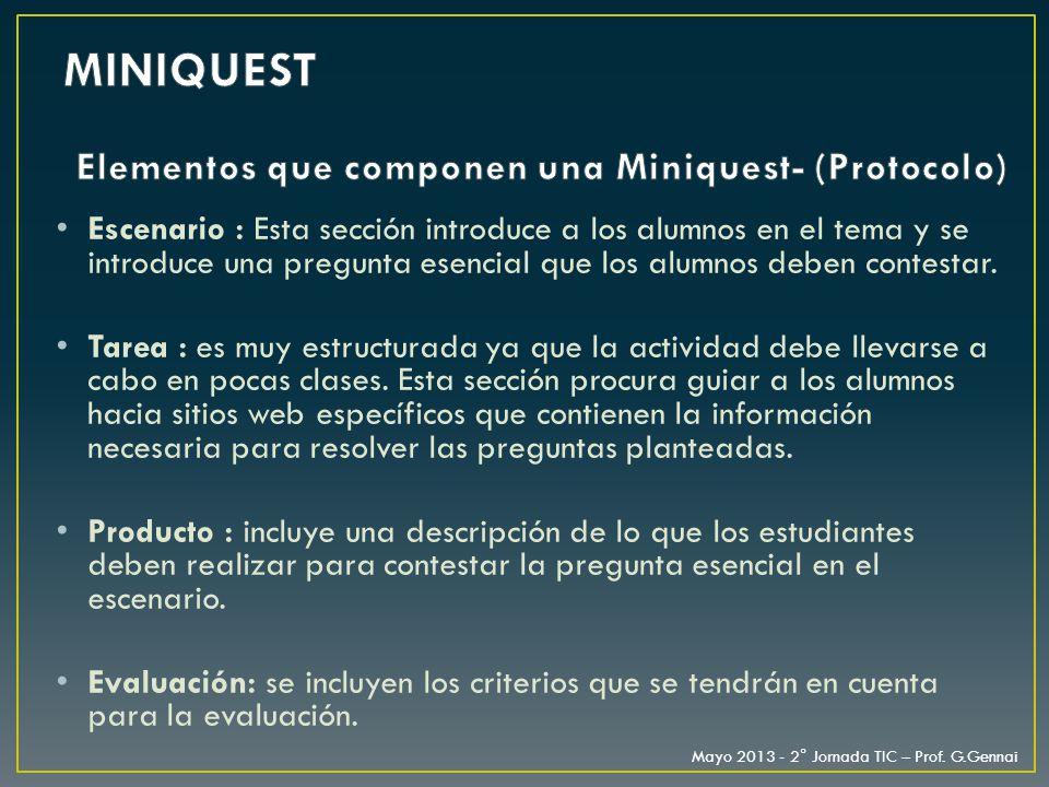Elementos que componen una Miniquest- (Protocolo)