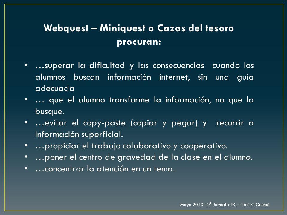 Webquest – Miniquest o Cazas del tesoro