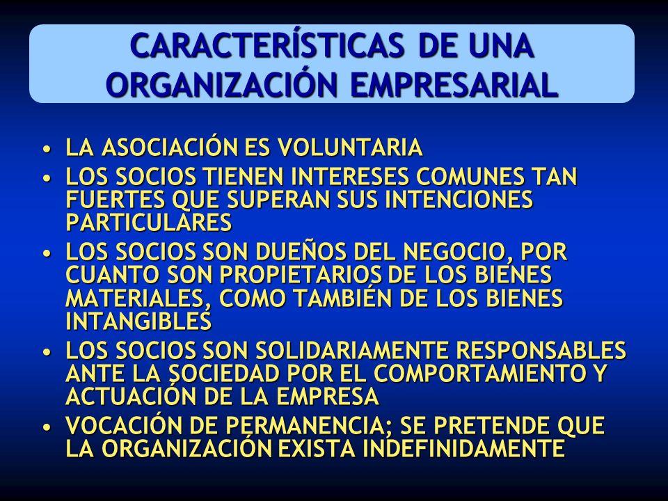 CARACTERÍSTICAS DE UNA ORGANIZACIÓN EMPRESARIAL