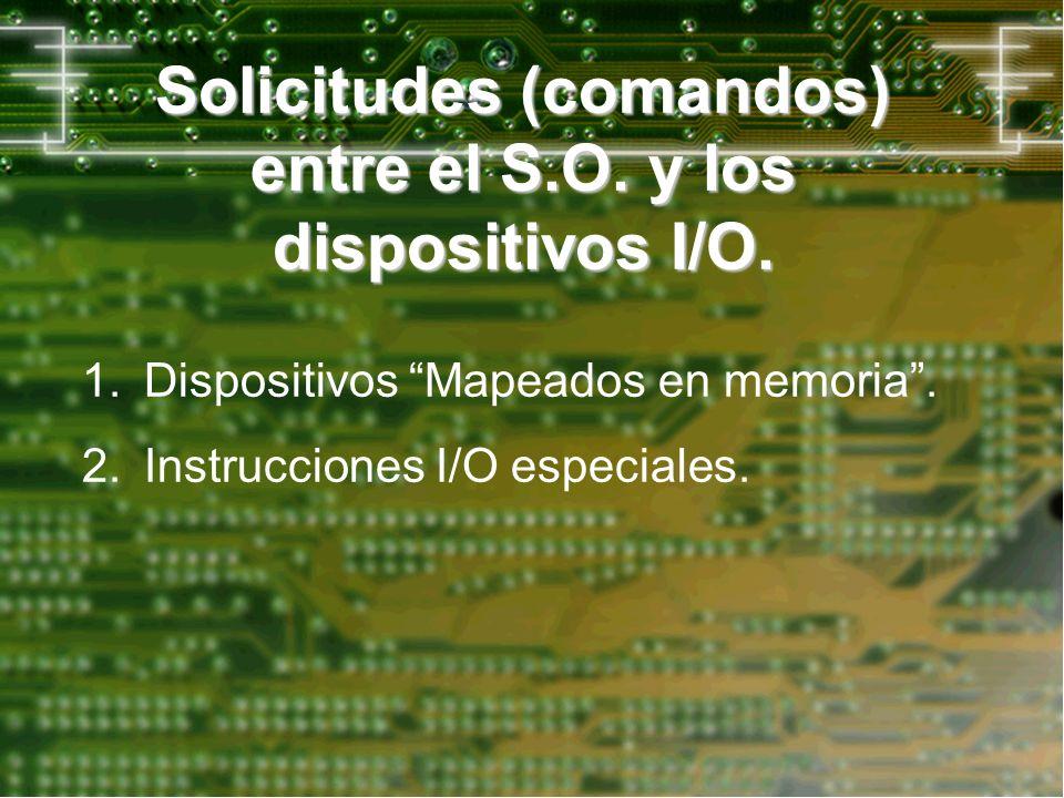 Solicitudes (comandos) entre el S.O. y los dispositivos I/O.
