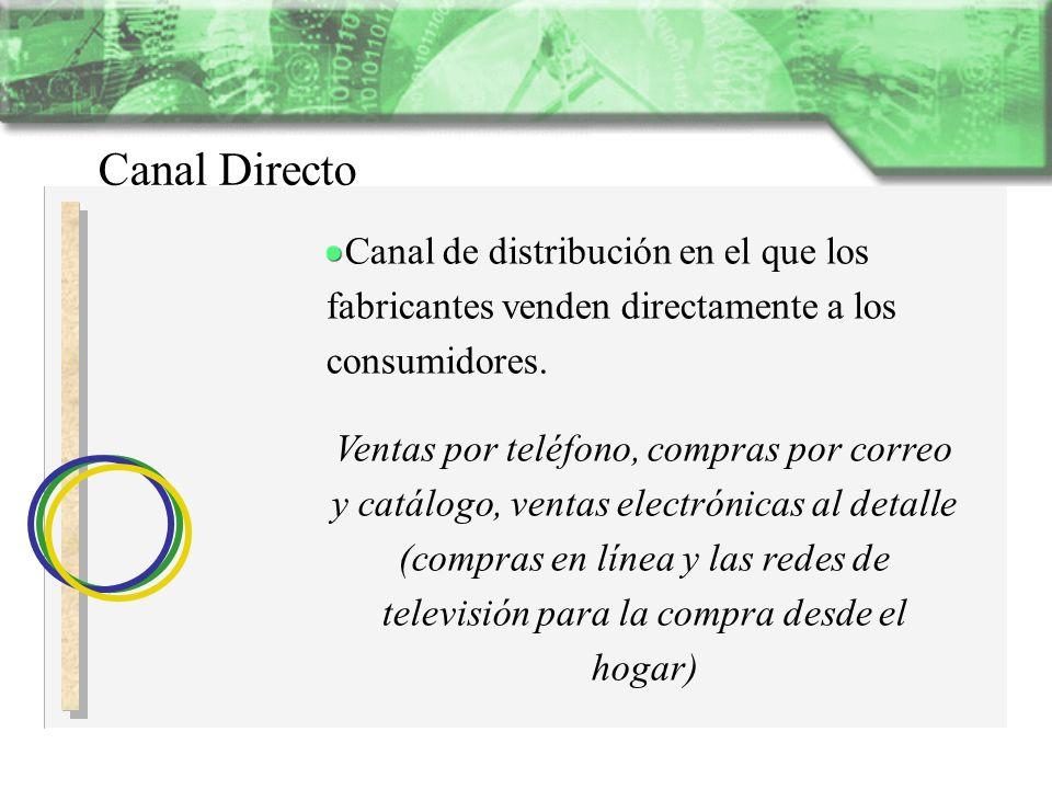 Canal DirectoCanal de distribución en el que los fabricantes venden directamente a los consumidores.