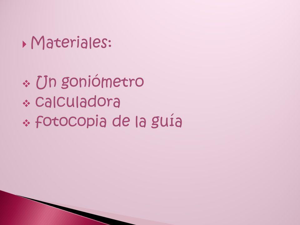 Materiales: Un goniómetro calculadora fotocopia de la guía