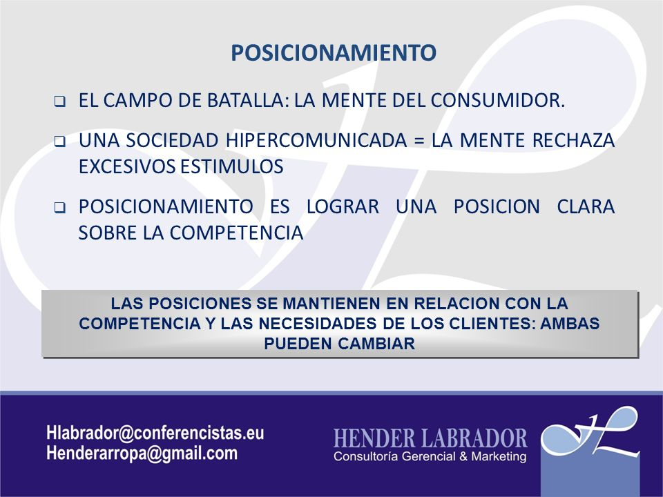 POSICIONAMIENTO EL CAMPO DE BATALLA: LA MENTE DEL CONSUMIDOR.