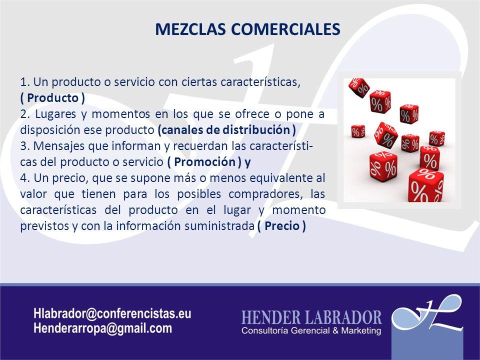 MEZCLAS COMERCIALES 1. Un producto o servicio con ciertas características, ( Producto )