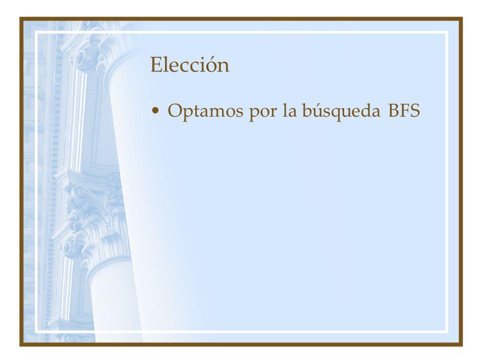 Elección Optamos por la búsqueda BFS