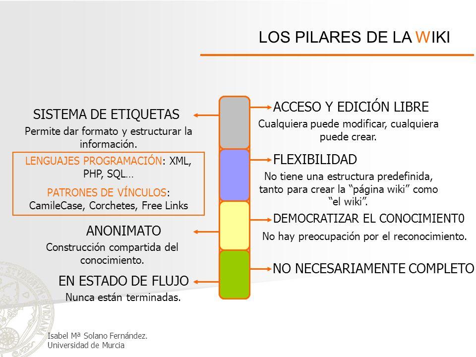 LOS PILARES DE LA WIKI ACCESO Y EDICIÓN LIBRE SISTEMA DE ETIQUETAS