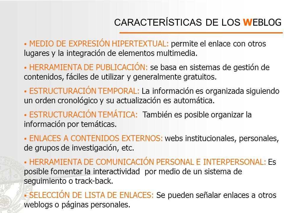 CARACTERÍSTICAS DE LOS WEBLOG
