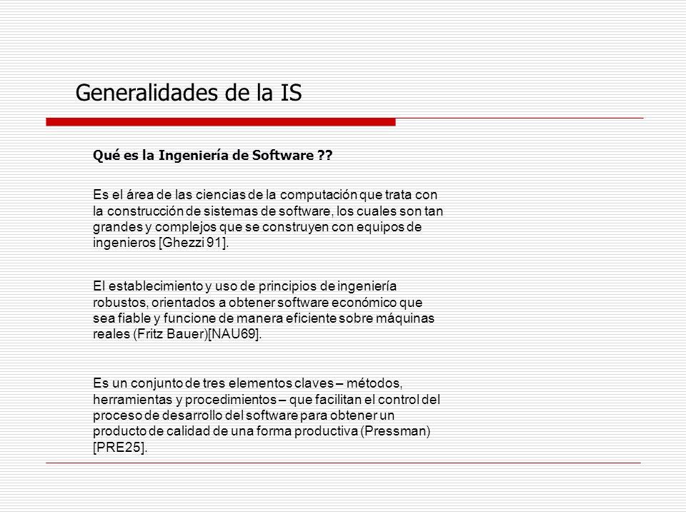 Generalidades de la IS Qué es la Ingeniería de Software