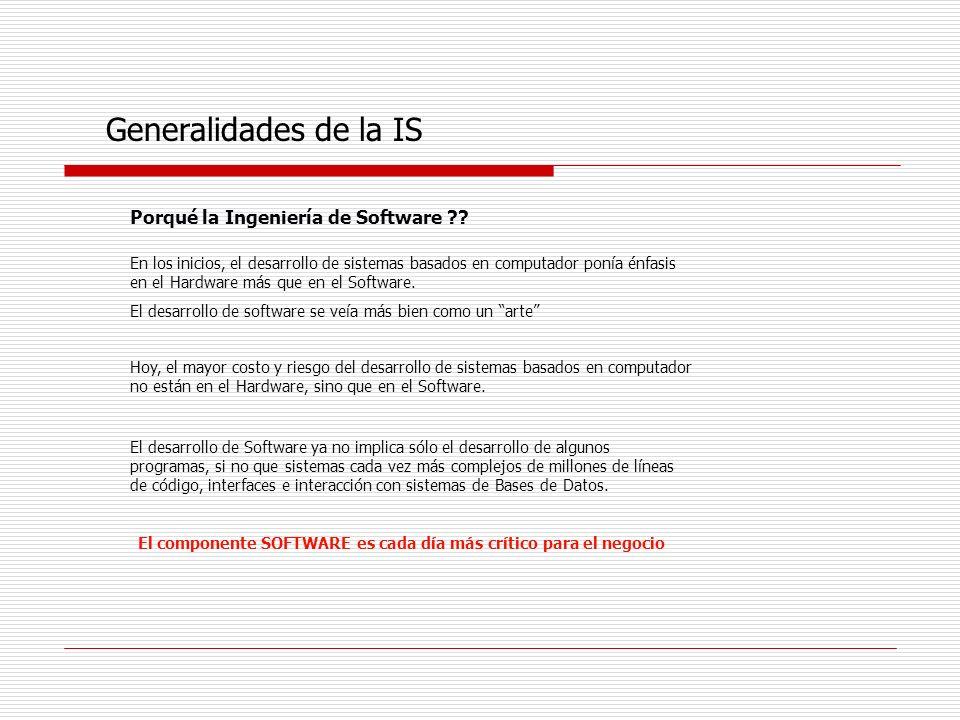 Generalidades de la IS Porqué la Ingeniería de Software