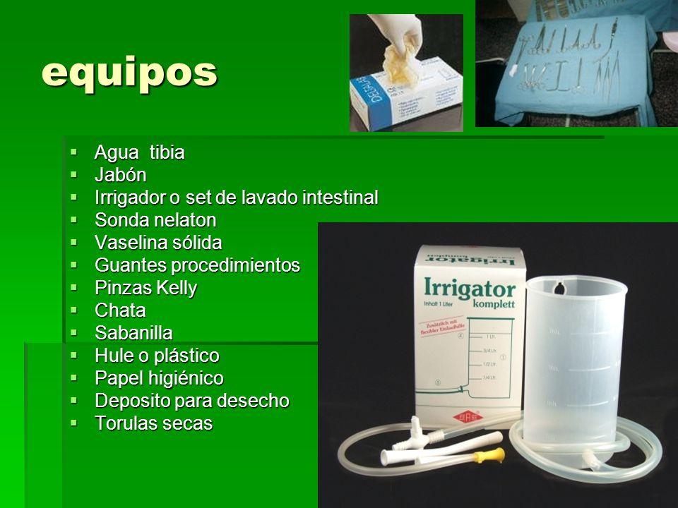 equipos Agua tibia Jabón Irrigador o set de lavado intestinal