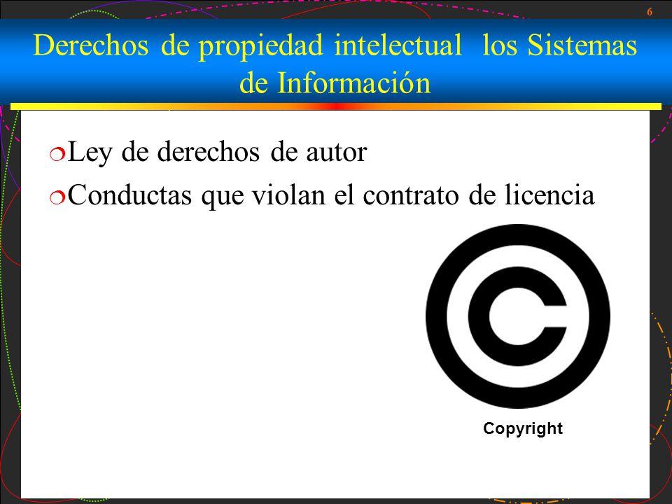 Derechos de propiedad intelectual los Sistemas de Información