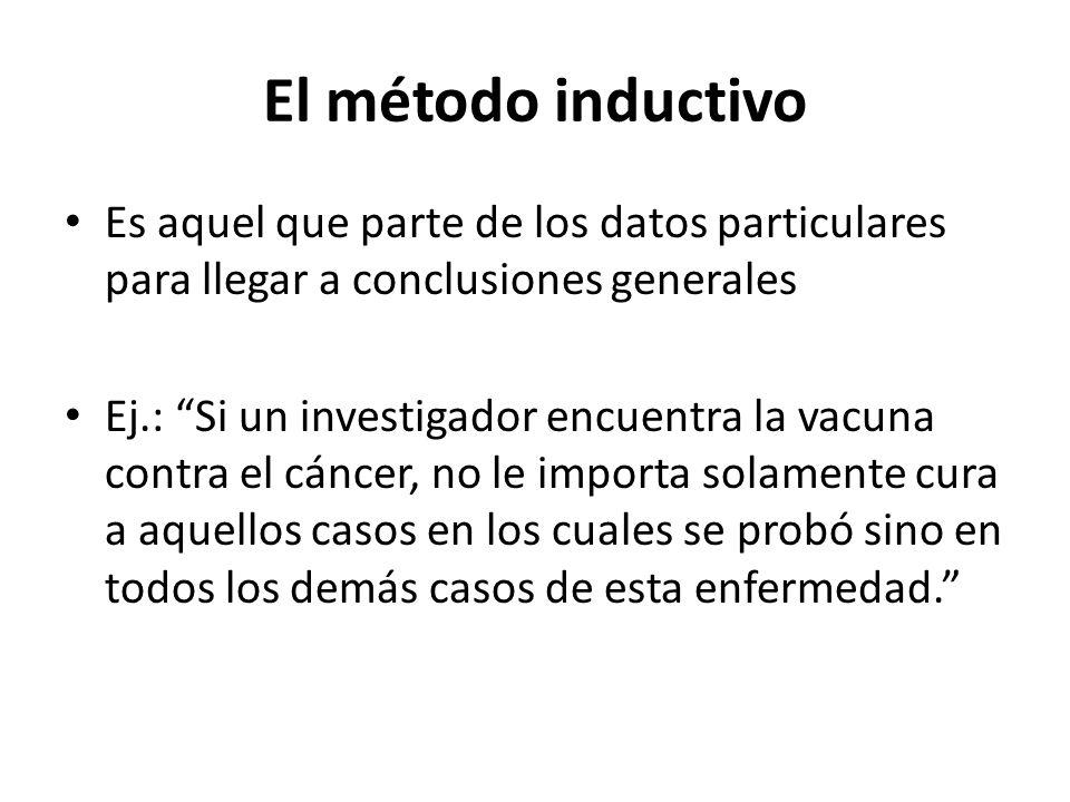 El método inductivo Es aquel que parte de los datos particulares para llegar a conclusiones generales.