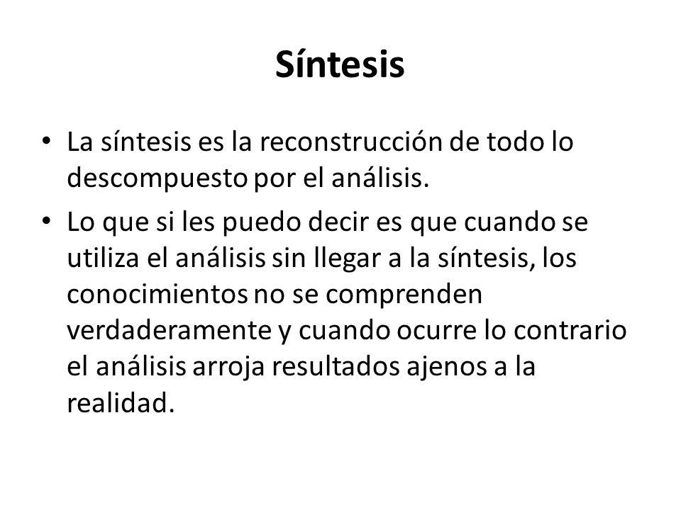 Síntesis La síntesis es la reconstrucción de todo lo descompuesto por el análisis.